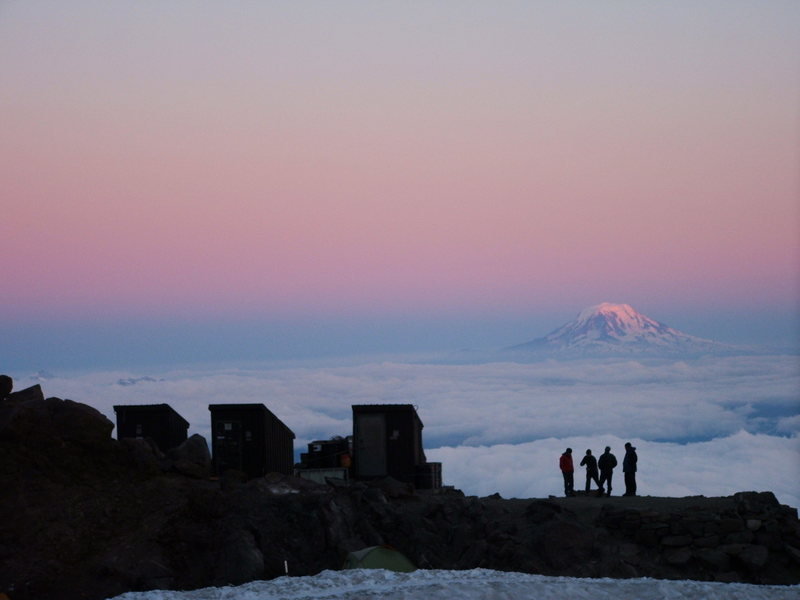 Climbers at Muir taking in the sunset.