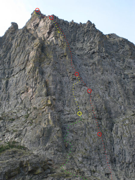 This shows the Direct North Pillar on the right (red), with North Pillar Left scrambling up the gully (green) and merging after the first pitch. It then splits again on its own line (yellow).