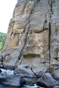 Rock Climbing Photo: Tony B. Leads up into the crux of Water World (11-...