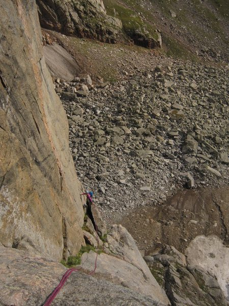Rock Climbing Photo: Rapping in the single 70m rope way into the Black ...