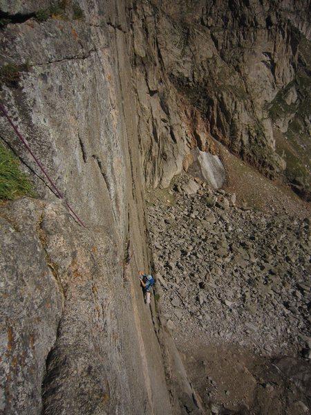 Rock Climbing Photo: Kat A. follows the crux first pitch of Good Evans ...