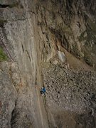 Rock Climbing Photo: The crux of P1 of Cary Granite (shared with Good E...