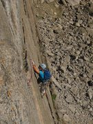 Rock Climbing Photo: Kat A. dances through the crux of the route, follo...