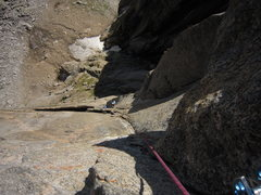 Rock Climbing Photo: Kat A. starts up following the long P2 (5.11-) of ...
