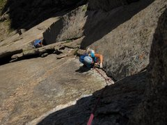 Rock Climbing Photo: P2 of Cary Granite is broken into 3 sections, the ...