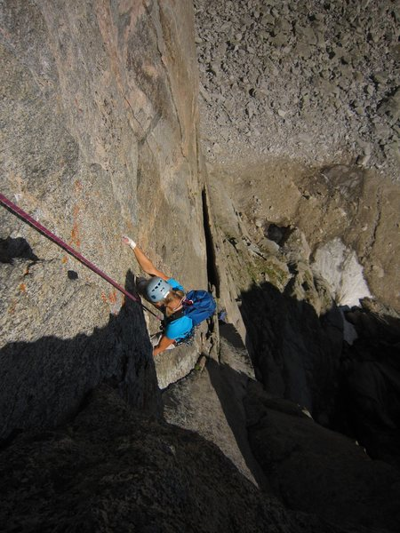 Rock Climbing Photo: Kat A. starts the battle with the P2 roof on Cary ...