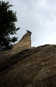 Rock Climbing Photo: On top of the line, just before a big storms rolls...