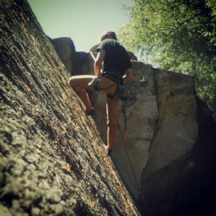 A very classic climb, the splitter crack in the graveyard.