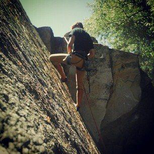 Rock Climbing Photo: A very classic climb, the splitter crack in the gr...