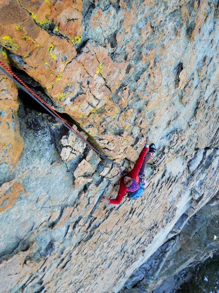 Pitch 5, the 200ft crack.