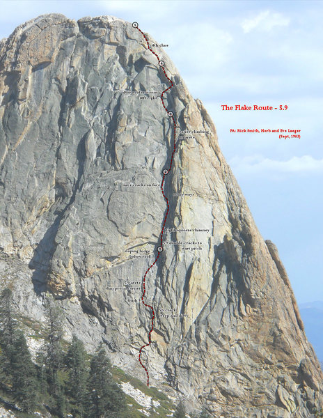 Rock Climbing Photo: The Flake Route - topo