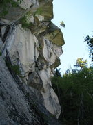 Rock Climbing Photo: The Endurance goes out the roof crack just below t...
