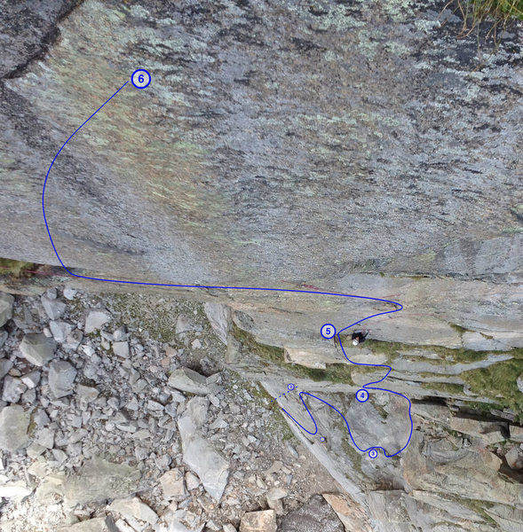 Looking down from P6 belay with anchor locations marked.