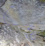 Rock Climbing Photo: Looking down from P6 belay with anchor locations m...