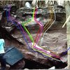 Topo of the Alpine Club boulder.<br> <br> Red=Alpine Club - V9 <br> Pink=Alpine Club Sit (Fight Club) - V10 <br> Purple=Velvet Hammer - V8 <br> Blue left=Velvet Hammer Sit - V9/10 <br> Green=Hammer Club - V7/8 <br> Yellow=Hammer Club Sit - V9 <br> Orange=Rapture - V9 <br> Brown=Rapture Super Sit (project) - V11? <br> White=Rapture Sit (project) - V10? <br> Blue right=Arete Problem (unnamed) - V3