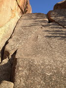 Rock Climbing Photo: Right up the middle of the slab between cracks....