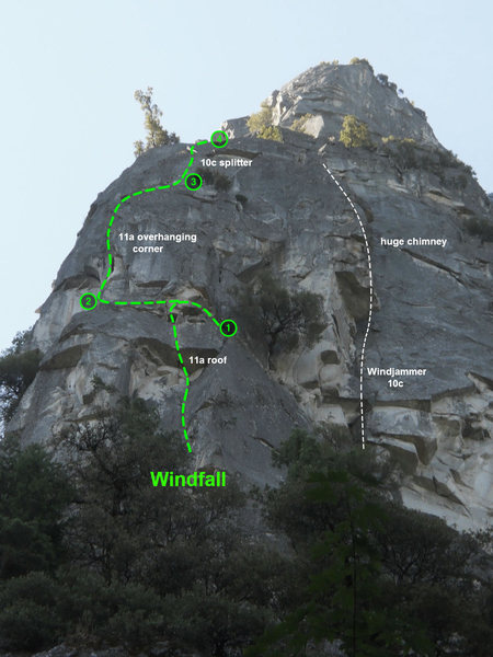 Here's a crappy topo of the route. The photo was taken from below so the pitches look foreshortened.<br> <br> Pitches are as we climbed it (P1 here is actually P1&2 in Reid guide)