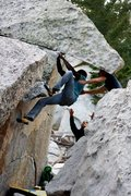 Rock Climbing Photo: Standing on the head of the dragon (V4).