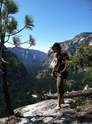 Rock Climbing Photo: Travis enjoying the view from atop the Royal Arche...