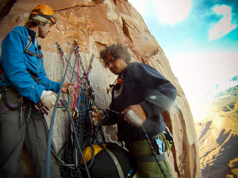 Rock Climbing Photo: Hauling a bag up Kor-Ingalls , Castleton Tower. Ma...