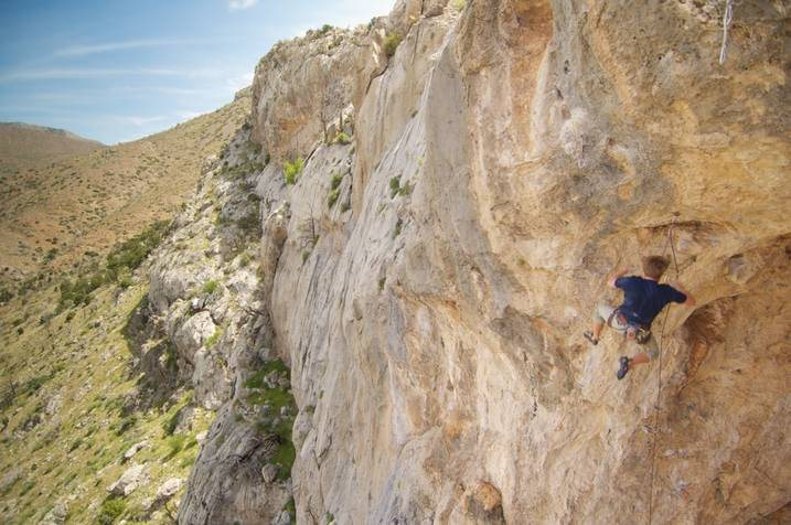 Seth Cowley falling off the crux of Spring Loaded.