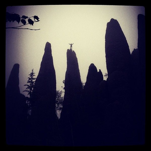 Rock Climbing Photo: Atop the Tricouni Nail after a wet misty ascent. M...