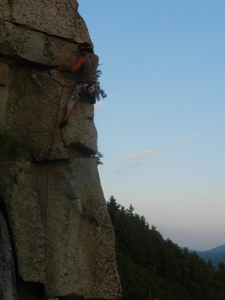 Jonathan Garlough leading The Arete.<br> <br> Photo by James Dickson