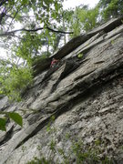 Rock Climbing Photo: Loran Smith under the roof on his route Coyote Rai...
