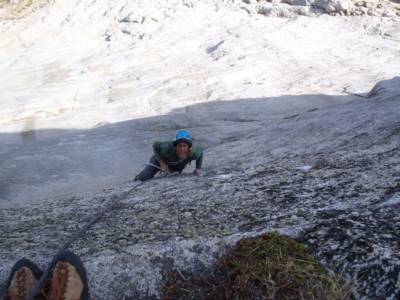 Rock Climbing Photo: Bob Jensen cleaning pitch 2
