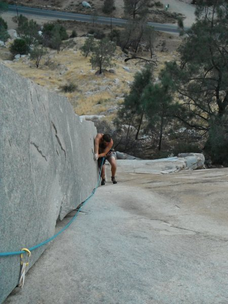 Rob Beno encounters the crux crimp transition on The Lieback 5.5+++
