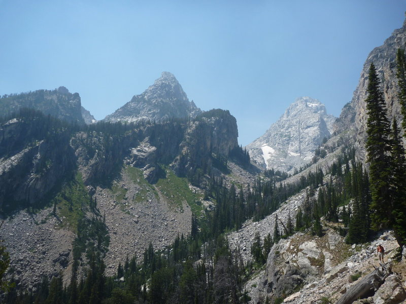 Nez Perce & Middle Teton from Garnet Canyon approach