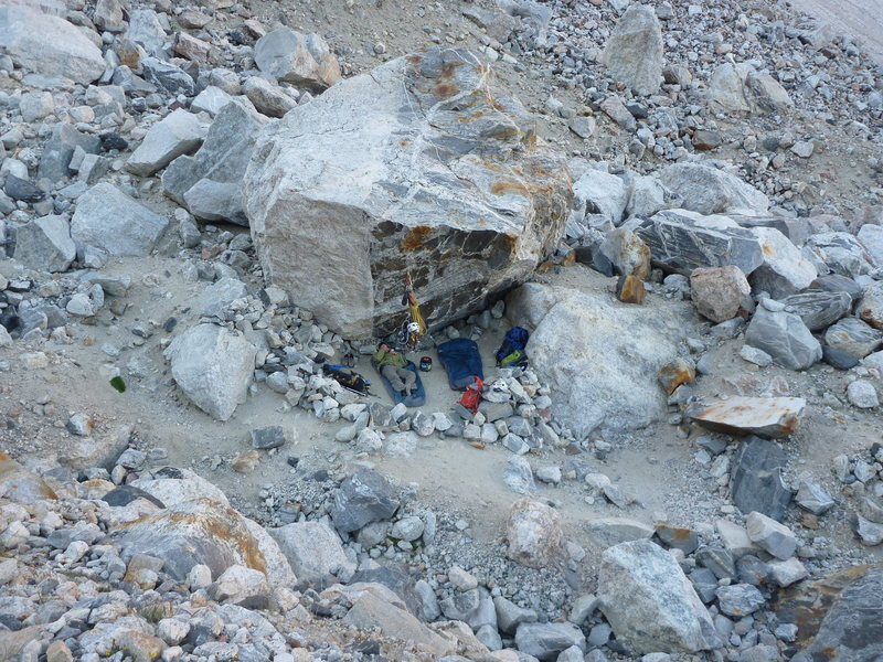 Bivy site in Moraine Camp below the lower saddle