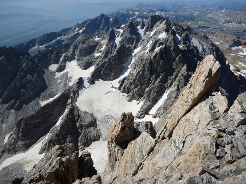 Looking down on the Middle Teton,South Teton and Cloudveil Dome