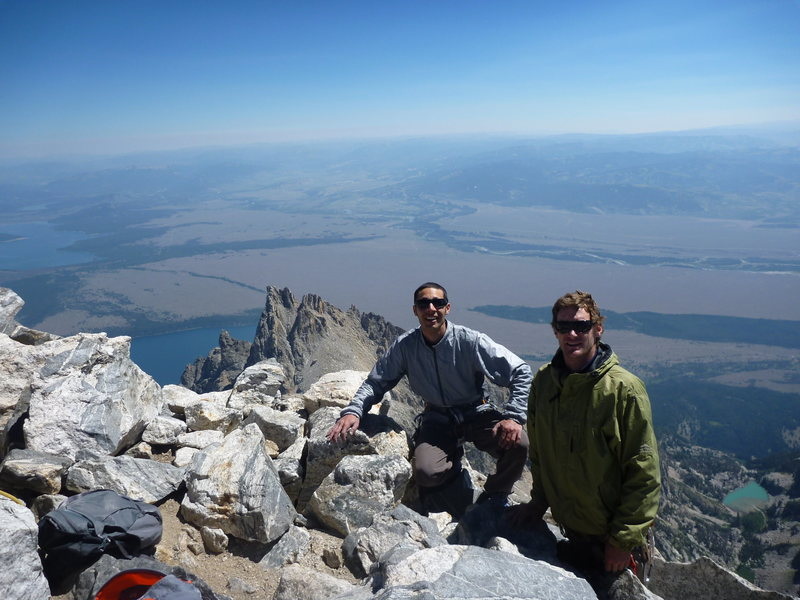 Rock Climbing Photo: Summit of the Grand with Teewinot below