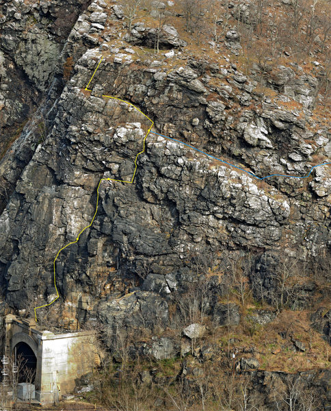 Rock Climbing Photo: Long and Hard topo - Blue line is a Alternative ex...