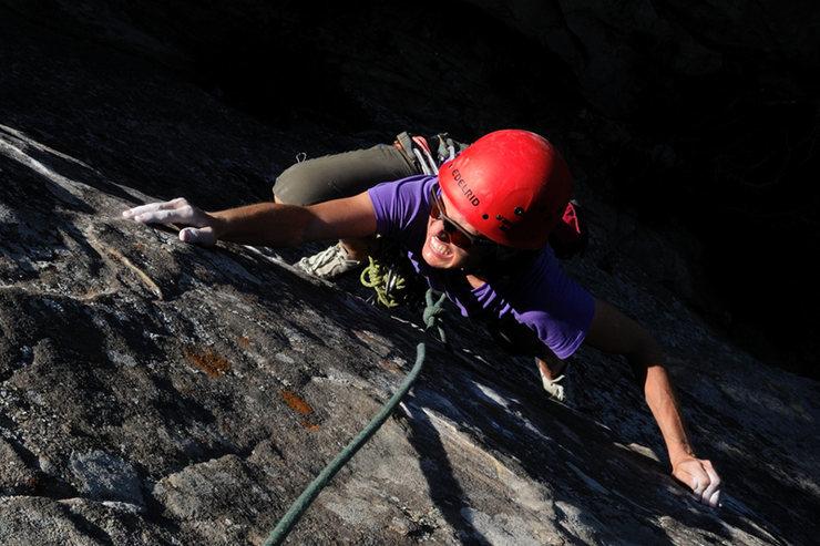 Rock Climbing Photo: Colleen makes the long reach for the next crimp, o...