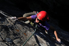 Rock Climbing Photo: Colleen makes the long reach for the next crimp, o...