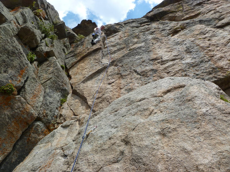 Rock Climbing Photo: High on the route.