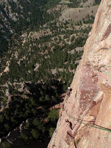 Rock Climbing Photo: Jesse following the 2nd to last pitch.