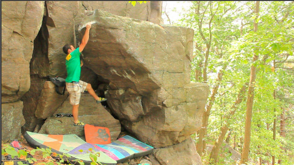 Rock Climbing Photo: Sticking the crux on the possible fa.  Rad move