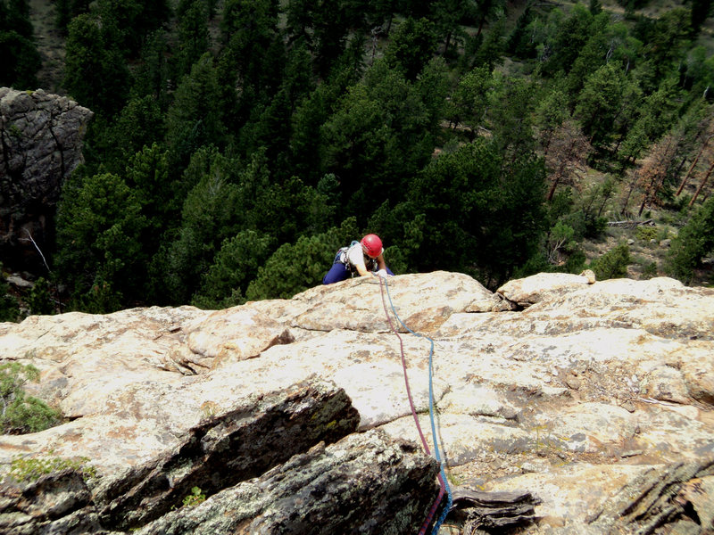 Rock Climbing Photo: Deb climbs above the interesting features.  The ro...