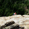 Deb climbs above the interesting features.  The route's belay isn't ideal for photos.
