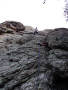 Rock Climbing Photo: Deb moves into the crack below the right-facing di...
