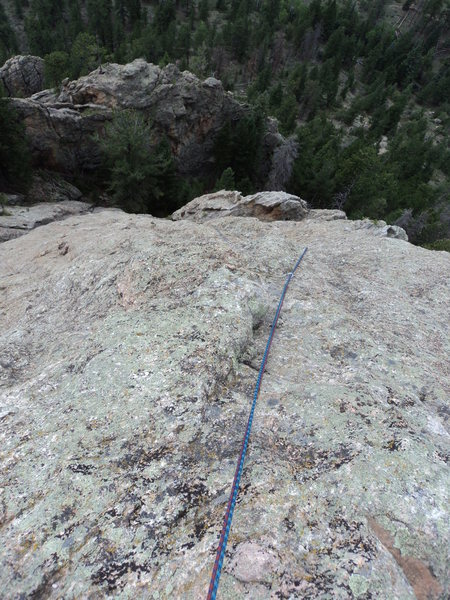 Rock Climbing Photo: Looking down P2.