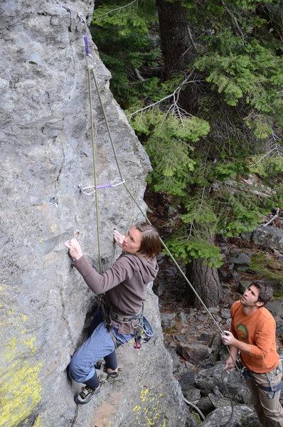 Rock Climbing Photo: Leigh on Fish Food .11c