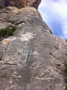 Rock Climbing Photo: Directions painted on the rock at the start of the...