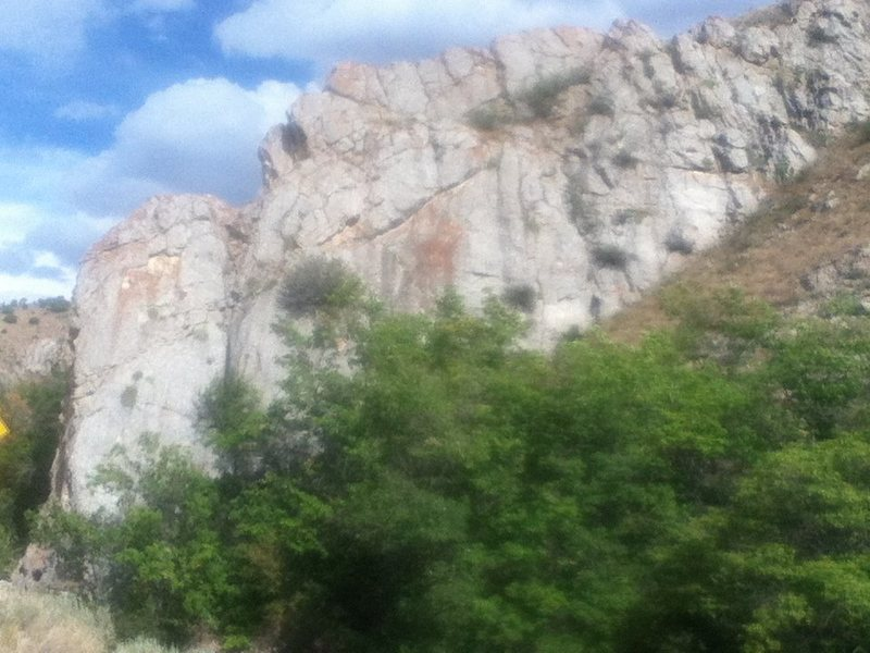 Rock Climbing Photo: See where the ground climbs the rock on the far ri...