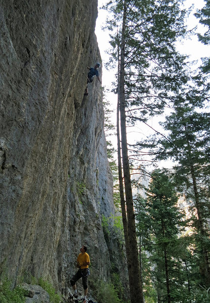 Kip Henrie just past the hard bit.<br> <br> Jeff Jones belaying.