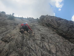 Rock Climbing Photo: Beth leading the the pitch after the short travers...