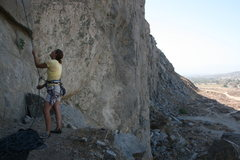 Rock Climbing Photo: Agina Sedler belaying on Rubble Row.
